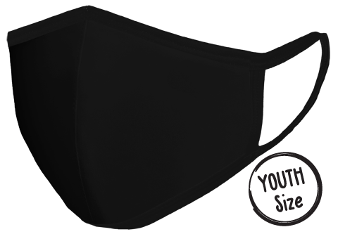 Mask BLACK front view Floating YOUTH SIze